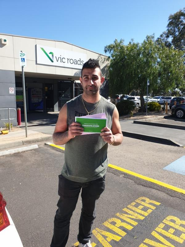 George passed his driving test 1st go at Broadmeadows vicroads