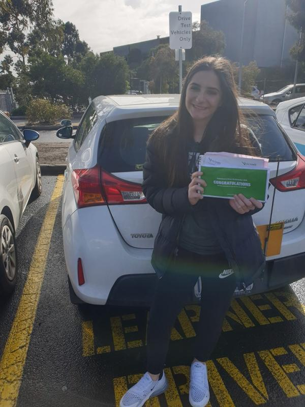 Laura passed her driving test 1st go at Broadmeadows vicroads