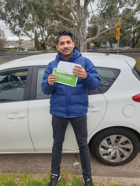 Sudip for passing his driving test 1st go at Broadmeadows vicroads600