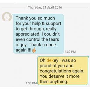 Dekey's SMS Testimonial